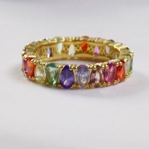 rainbow gold cz eternity band stacking ring